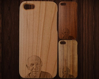 Custom photo engraved wood iPhone 5 case. Fits 5 and 5S. Choice of three wood types. Single-piece body.