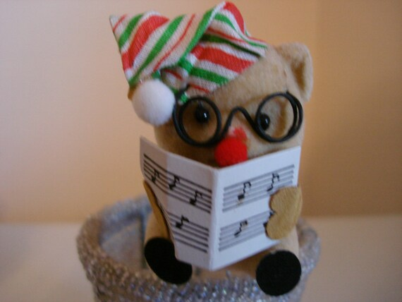 Vintage christmas flocked mouse picks 1980 39 s christmas for Vintage christmas craft supplies