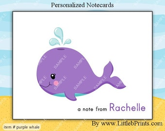 Purple Whale under the sea Note Cards Set of 10 personalized flat or folded cards