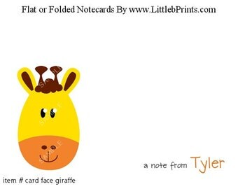 Animal Face Giraffe Note Cards Set of 10 personalized flat or folded cards