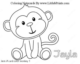 Monkey Color Your Own Note Cards Set of 10 personalized flat or folded cards