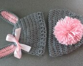 Baby Bunny Hat with Bunny Tail Diaper Cover, Easter Photo Prop
