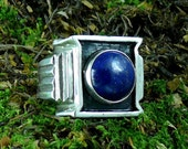 Men's Large Lapis Lazuli Cabochon Sterling Silver Ring