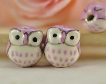 10pcs 16mm PURPLE Handpainted Cute Ceramic Owl Beads Owl Charms Connectors