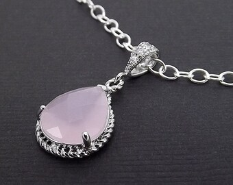 Sterling Silver Necklace Pale Cloudy Pink Glass Pendant