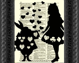 Alice in Wonderland Art Print, Alice and the White Rabbit Dictionary Art, Home Decor, Dictionary Page, Dictionary Print, Wall Decor, Collage