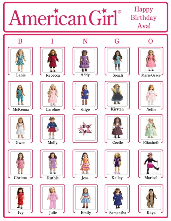 bingo american girl birthday party game cards now