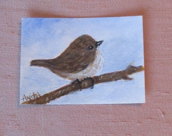 SALE! Original ACEO Little Finch Watercolor Painting includes shipping