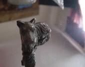 Vintage Scottie: Heavy Solid Metal Terrier Dog Sculpture Signed Japan in Copper or Bronze SALE