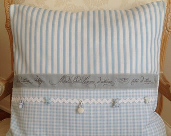 Country French Pillow Cover for BEBE, Shabby Chic Baby Pillow Cover, Paris Bebe Pillow Cover, Baby Blue Gingham Pillow Cover