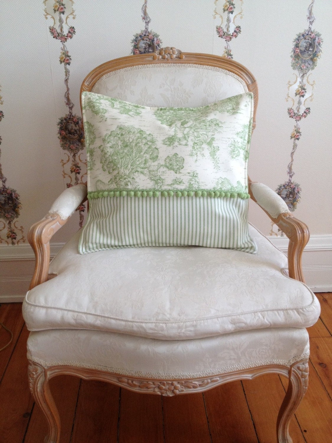 French Country Pillow Cover Green Pillow Toile Pillow