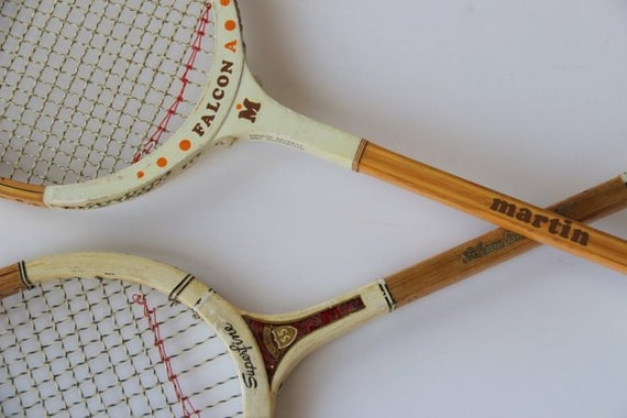 Two Vintage Wood Squash Racquets / Two Bamboo Rackets / Sports