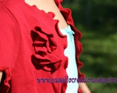 7/8 red t shirt shrug w/flower ruffle detail