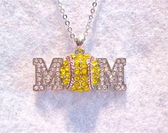 """Softball Mom Necklace """" Softball Mom"""""""