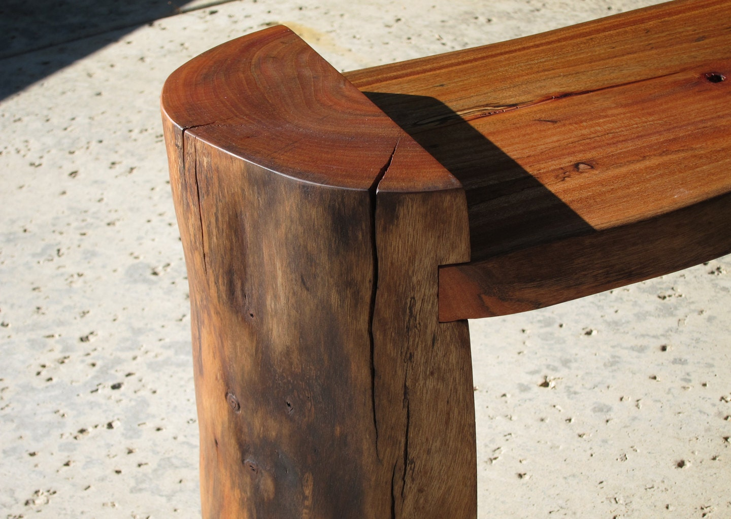 Modern Reclaimed Log Bench Coffee Table