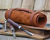 Hand made leather tool roll, wrench roll, tool organiser, tool case, gifts for men - Rivetandleatherco