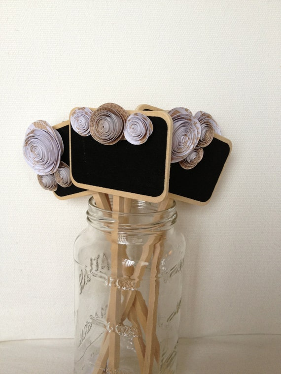 Mini Chalkboard Signs burlap and lace - wedding, table numbers, party, dessert or food label