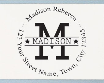 Custom Return Address Stamp - Initial Housewarming Design - AA14