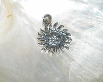Oxidized 925 Sterling Silver Sun Pendant