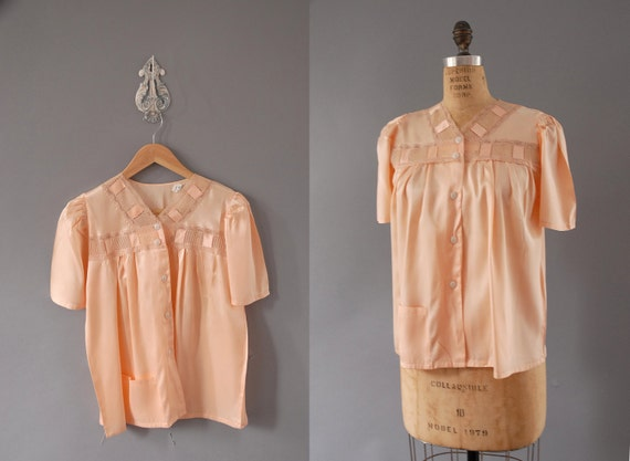 antique apricot rayon pajama top with lace