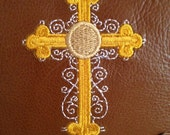 Leather Prayer Journal, refillable,Embroidered Cross