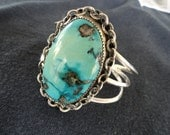 Reserved for Collectiblekeepers Vintage Sterling Silver Single Turquoise Stone Cuff Southwest Bracelet Unsigned