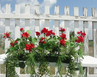 """Red Geraniums Green Plants Window Box Silk Flower Designs Custom Colors Welcome Fits into 18""""-24"""" Window Box or Custom Sizes Welcome too"""