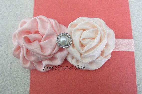 Peach & Cream Satin Flower Headband, baby headband, womens headband, girls, infant, toddler, hair accessory, hair bows, newborn, elastic