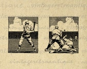 Baseball Printable Image Digital Baseball Players Download Sports Graphic Antique Clip Art for Transfers Printing etc HQ 300dpi No.3644