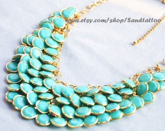 Sale- Aqua- Turquoise- Round Facet Bib Necklace, Bubble statement necklace, birthday gift, Mermaid Gift