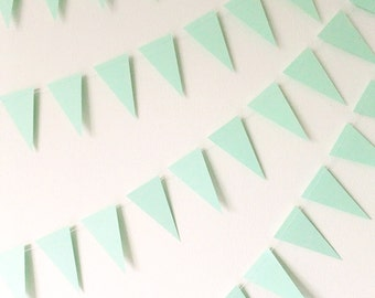 Paper Garland - Mint Green Mini Bunting Flags - 20ft Length