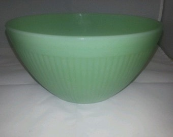 Mint Vintage Fire King Jadeite Jane Ray Mixing Bowl- HTF 5.5""