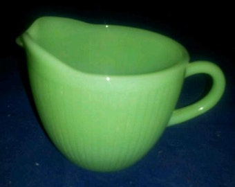 Vintage Fire King Jane Ray Jadeite Creamer - Mint