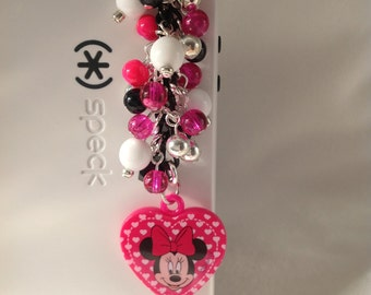 Hot pink heart with Minnie Mouse cell phone charm, phone charm, dust plug, dust plug charm, headphone jack charm, iphone charm, phone plug