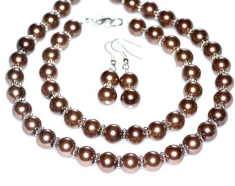 Lt Brown Pearl Bridal Set jewelry