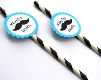 12 Stache Bash Party Straws