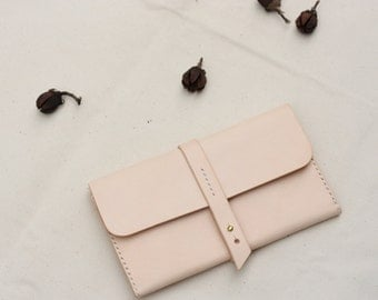 SALE 30% OFF Hand Stitched Leather Wallet  /  Clutch