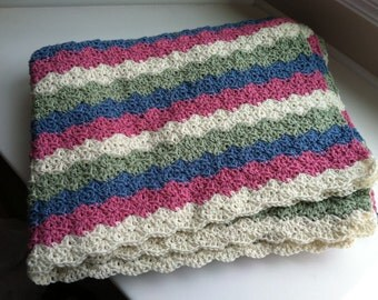 Multicolored Hand Knit Afghan