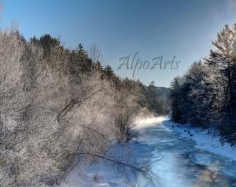 Winter Sunrise Photo, 13x19 inch, landscape photo, winter photo, matted print, water photo, Photography, fine art, wall art, home decor, art