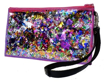 Rainbow Bag Glitter Clutch Purse Sparkly Clutch Bag Glitter Wristlet in Rainbow Rapture
