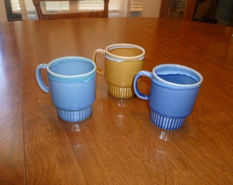 Three Stackable Mugs from 1960s