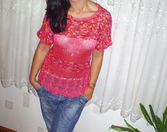 Knitted blouse,ladies silk blouse,elegant knitwear, knitted tunic, Hand knitted top,wicker summer blouse, girls blouse