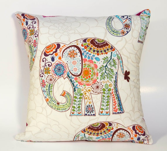Elephant Pillow 16x16 Throw Pillow With Paisley By