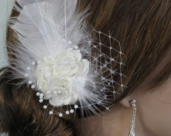 Bridal Flower Hair  Clip Wedding Hair Clip  Wedding Accessory Feathers Pearls Vail