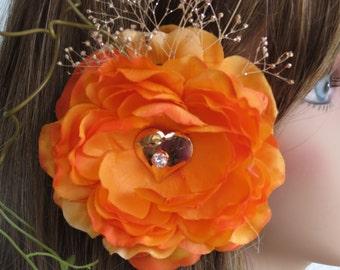 CLEARANCE Wedding Hair Accessory Bridal Accessory Orange Bridal Flower Hair Clip