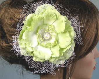 Wedding Accessory-Light Green Flower Clip -Bridal Accessory- Wedding Hair Clip-Pearl-Vail
