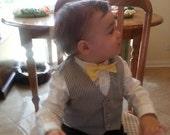 Boys Vest Grey Striped Seersucker, Ringbearer Vest, Wedding Vest, Birthday Vest, Baptism Vest, Baby Boy Vest, Toddler Vest, Boy Vest