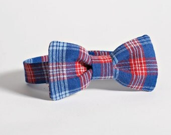 Plaid Bow Tie - Red and Blue Boys Bow Tie, Blue Plaid Baby Bow Tie, Boys Blue Bow Tie, Boys Red Bow Tie, Baby Bowtie, Boys Bowtie Plaid Baby