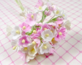 Forget Me Not Flowers Pink Mix for Vintage Style Crafts Cottage Chic Millinery