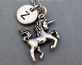 Unicorn necklace, silver unicorn charm, Unicorn jewelry, initial necklace, initial hand stamped, personalized, antique silver, monogram